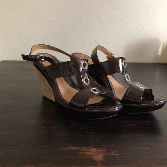 aaea7491ec Sofft Brown Patent Wedge with Cork Heel. M_5a514dbacaab447b9b025e25